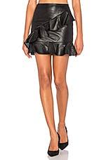 Asymmetrical Ruffle Mini Skirt in Black
