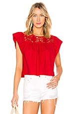 Endless Rose Cropped Baby Doll Blouse in Ruby Red