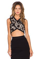 Lace Crossover Crop Top in Black