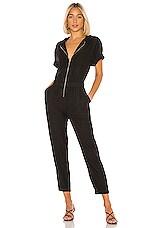 Enza Costa Linen Short Sleeve Jumpsuit in Black