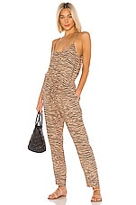 Enza Costa Linen Strappy Jumpsuit in Tan Zebra