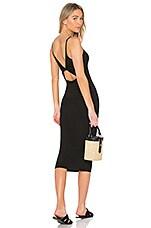 Enza Costa Matte Jersey Back Twist Midi Dress in Black