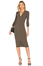 Enza Costa Rib Cardigan Midi Dress in Olive Drab