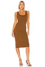 Enza Costa Rib Tank Midi Dress in Cognac