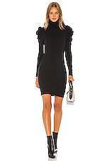 Enza Costa Cashmere Puff Sleeve Turtleneck Mini Dress in Black