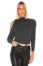 Enza Costa Rib Long Sleeve High Neck Sweater in Charcoal