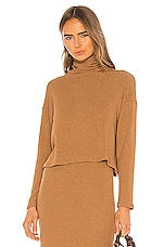 Enza Costa Sweater Knit Cropped Long Sleeve Turtleneck in Amber
