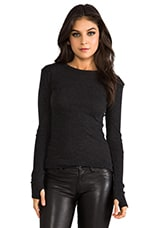 Cashmere Moto Pullover Sweater in Charcoal
