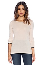 Cashmere Colorblock Sweater in Rose & Black