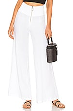 Enza Costa French Linen Pintuck Wide Leg Pant in White