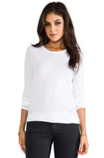 Tissue Jersey Front Drape Long Sleeve in White
