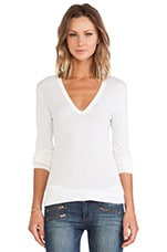 Tissue Jersey Bold Long Sleeve U Neck in Marshmallow