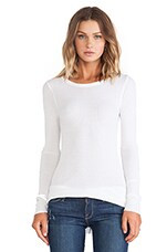 Silk Rib Long Sleeve Crew in White