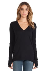 Cashmere Loose V Sweater in Black