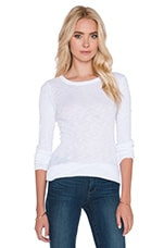 Sheer Slub Rib Long Sleeve Crew Tee in White