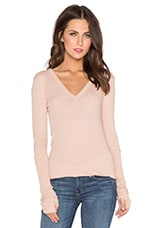 Cashmere Cuffed V Neck Long Sleeve Tee in Nude