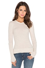 Cashmere Cuffed Long Sleeve Tee in Oatmeal