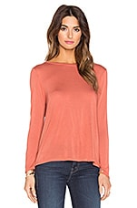 Bracelet Sleeve Crew Neck Top en Terracotta