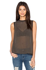 Sleeveless Trapeze Top en Black Olive