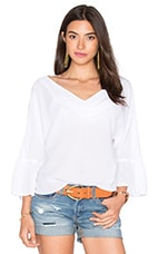 Peasant Voile Loose Ruffle Sleeve Top en Blanc