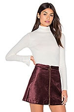 Long Sleeve Split Cuff Turtleneck Top in Winter White
