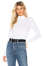 Enza Costa Rib Fitted Turtleneck Top in White