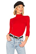 Enza Costa Rib Fitted Turtleneck in Iconic Red