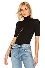 Enza Costa Rib Fitted Turtleneck Top in Black