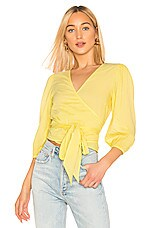 Enza Costa Puff Sleeve Wrap Top in Lemongrass