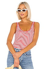 Enza Costa Scoop Tank Bodysuit in Red & White