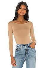 Enza Costa Long Sleeve Off Shoulder Bodysuit in Tan