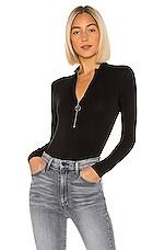 Enza Costa Mockneck Zip Bodysuit in Black