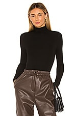 Enza Costa Rib Long Sleeve Turtleneck Bodysuit in Black