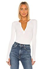 Enza Costa Silk Rib Long Sleeve Henley Top in White