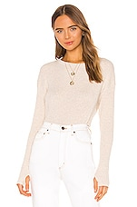 Enza Costa Cashmere Blend Thermal Loose Cropped Long Sleeve Top in Oatmeal