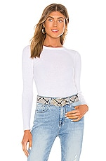 Enza Costa Cashmere Blend Long Sleeve Crew Top in White