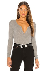 Enza Costa Cashmere Blend Long Sleeve Henley Top in Smoke