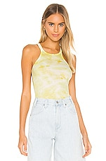 Enza Costa Silk Rib Reverse Racer Tank in Lime Ionic