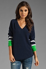 Asher V Neck Colorblock Sweater in Peacoat
