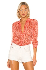 Equipment Essential Blouse in Hot Coral & Bright White