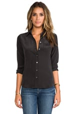 Brett Vintage Washed Blouse in Black