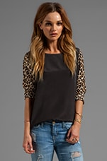 Equipment Underground Leopard Liam with Printed Sleeves in Black