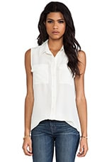 Sleeveless Slim Signature Blouse in Nature White