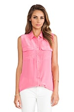 Sleeveless Slim Signature Blouse en Rose Vif