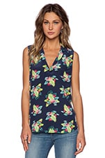 Sleeveless Keira Tropical Blouse in Peacoat Multi