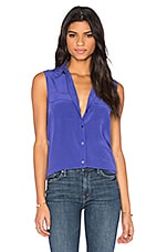 Sleeveless Slim Signature Blouse en Biro Blue