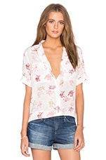 Short Sleeve Slim Signature Floral Print Blouse in Nature White Multi