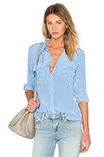 Slim Signature Stripe Blouse en Regatta & Bright White