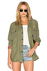 Patch Shirt Jacket in Military