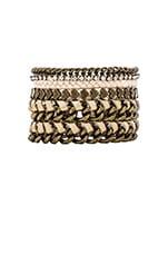 Friendship Bracelet Stack in Cream & Brass